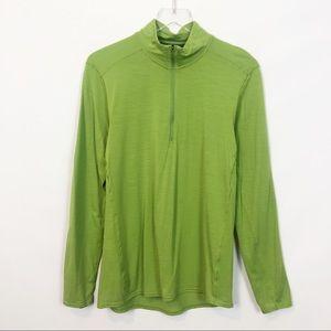 Patagonia Base Layer Green Merino 1/4 Zip Pullover